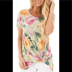 6f30cab30a3a Lime lush boutique floral tee with front knot